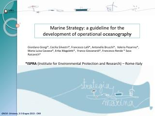 Marine Strategy: a  guideline for  the  development of operational oceanography