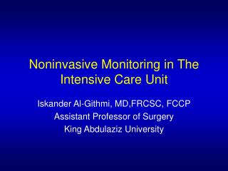 Noninvasive Monitoring in The Intensive Care Unit