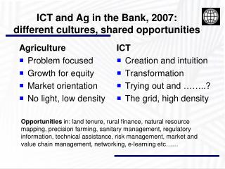 ICT and Ag in the Bank, 2007:  different cultures, shared opportunities
