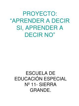 """PROYECTO: """"APRENDER A DECIR SI, APRENDER A DECIR NO"""""""