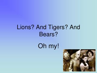 Lions? And Tigers? And Bears?