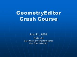 GeometryEditor  Crash Course