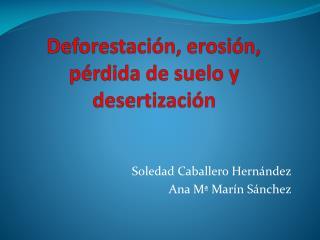 Deforestaci�n, erosi�n, p�rdida de suelo y desertizaci�n