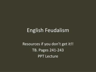 English Feudalism
