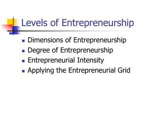 Levels of Entrepreneurship