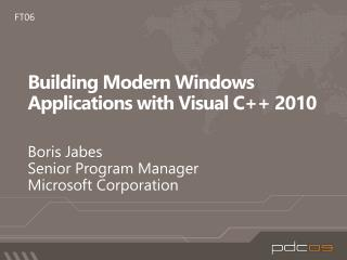 Building Modern Windows Applications with Visual C 2010