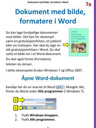 Dokument med bilde, formatere i Word