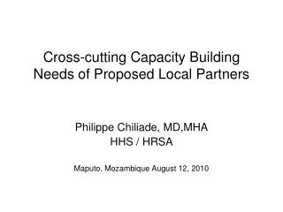 Cross-cutting Capacity Building Needs of Proposed Local Partners