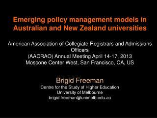 Australian and New Zealand university sector regulatory requirements