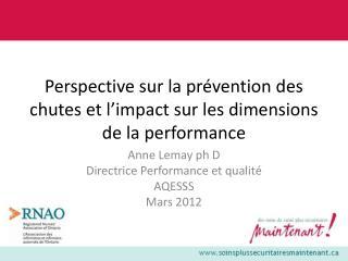 Perspective sur la prévention des chutes et l'impact sur les dimensions de la performance