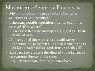 May  19,  2010 Sentence Fluency  Day 2