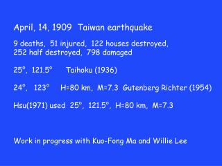 April, 14, 1909  Taiwan earthquake 9 deaths,   51 injured,  122 houses destroyed,