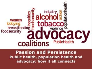 Passion and Persistence Public health, population health and advocacy: how it all connects