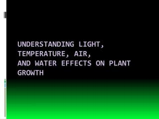 Understanding Light, Temperature,  Air, and Water Effects on Plant Growth