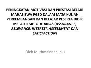 Oleh Muthmainnah ,  dkk
