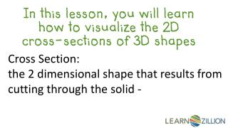 In this lesson, you will learn  how  to visualize the 2D cross-sections of  3D shapes