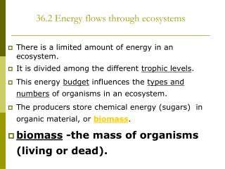 36.2 Energy flows through ecosystems