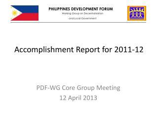 Accomplishment Report for 2011-12