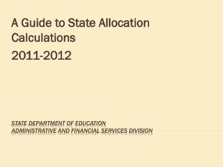State Department of education administrative and  financiaL Services division