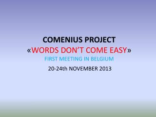 COMENIUS PROJECT « WORDS DON'T COME EASY » FIRST MEETING IN BELGIUM  20-24th NOVEMBER 2013