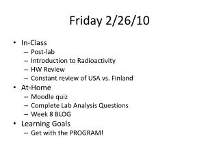 Friday 2/26/10
