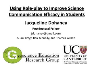 Using Role-play to Improve Science Communication Efficacy in Students