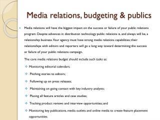 Media relations, budgeting & publics