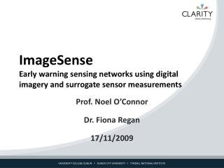 ImageSense Early warning sensing networks using digital imagery and surrogate sensor measurements