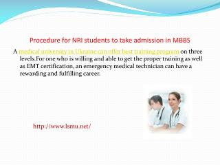Procedure for NRI students to take admission in MBBS