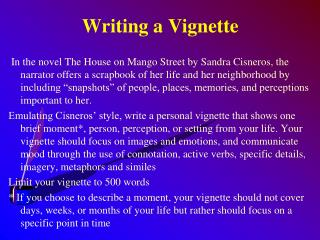 Writing  a Vignette