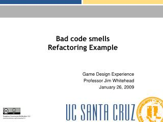 Bad code smells Refactoring Example