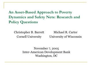 An Asset-Based Approach to Poverty Dynamics and Safety Nets: Research and Policy Questions