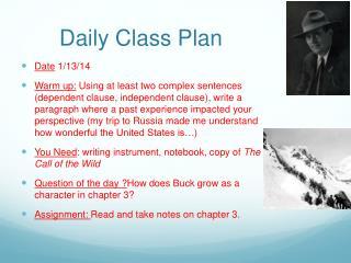 Daily Class Plan