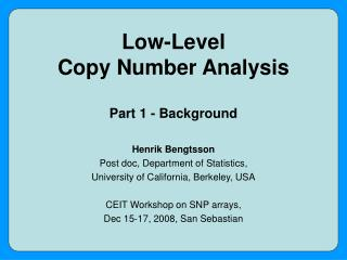 Low-Level Copy Number Analysis Part 1 - Background