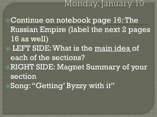 Monday, January  10 th