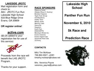 Lakeside High School Panther Fun Run November 6, 2010  5k Race and Prediction Race