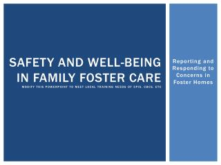 Reporting and Responding to Concerns in Foster Homes