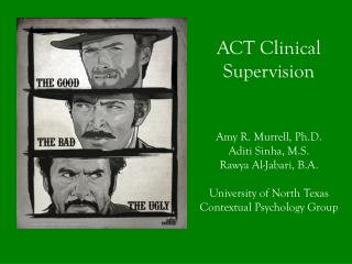 ACT Clinical Supervision  Amy R. Murrell, Ph.D. Aditi Sinha, M.S. Rawya  Al- Jabari , B.A.