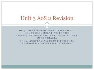 Unit 3  AoS  2 Revision