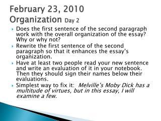 February  23,  2010 Organization  Day 2