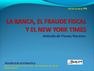 Artículo de Vicenç Navarro.