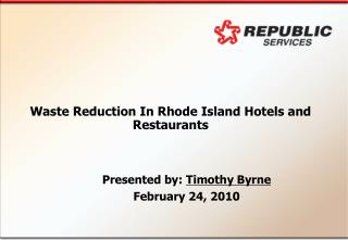 Waste Reduction In Rhode Island Hotels and Restaurants