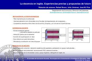 La docencia en inglés. Experiencias previas y propuestas de futuro