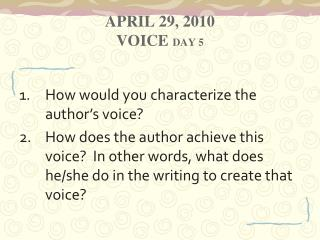 April 29, 2010 Voice  Day 5