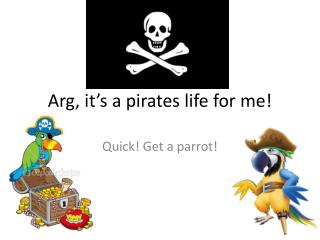 Arg , it's a pirates life for me!