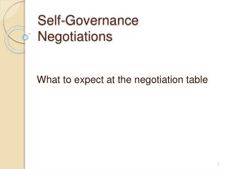 Self-Governance Negotiations