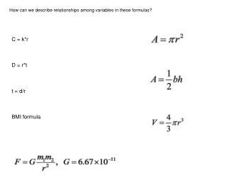 C = k*r D = r*t t = d/r BMI formula