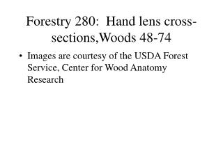 Forestry 280:  Hand lens cross-sections,Woods 48-74