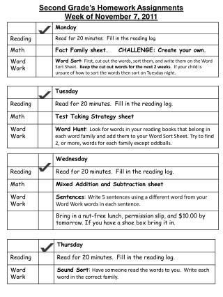 Second Grade's Homework Assignments Week of  Novem ber 7, 2011