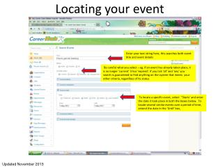 Locating your event